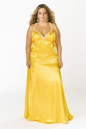 Vestidos de noche color amarillo para gorditas