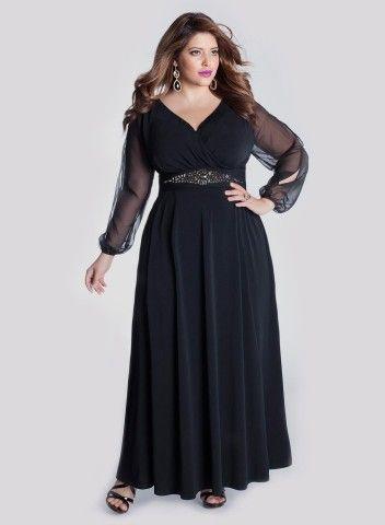 Vestidos de noche en negro para gorditas